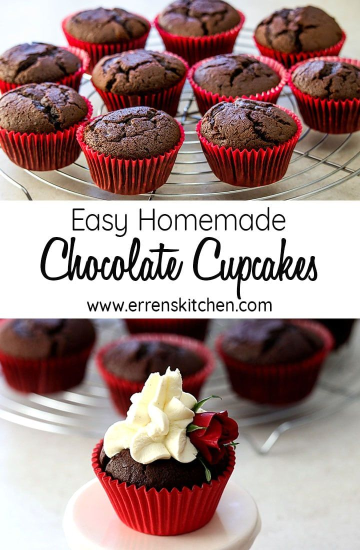 Easy Homemade Chocolate Cupcakes Recipe Homemade Chocolate Cupcakes Chocolate Cupcakes Easy Easy Chocolate Cupcake Recipe