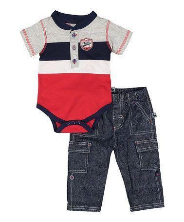 Another great find on #zulily! Red Stripe Bodysuit & Denim Pants - Infant #zulilyfinds