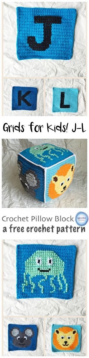 A free crochet pattern for a simple project combining basic crochet and cross stitch techniques. J is for Jellyfish, K is for Koala, L is for Lion. These squares can be combined to make a baby blanket or a stuffed pillow block perfect for any baby gift! A video tutorial is included to help you with assembly.