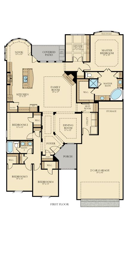 The Belmeade has four bedrooms, two baths, a study and a tandem three-car garage on one story. The breakfast nook has added space with a curved wall, and the family room has a cozy fireplace. The master bath has a corner tub, two sinks and a separate shower.