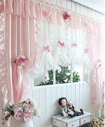 фото розовые романтические шторы для вашей кухни