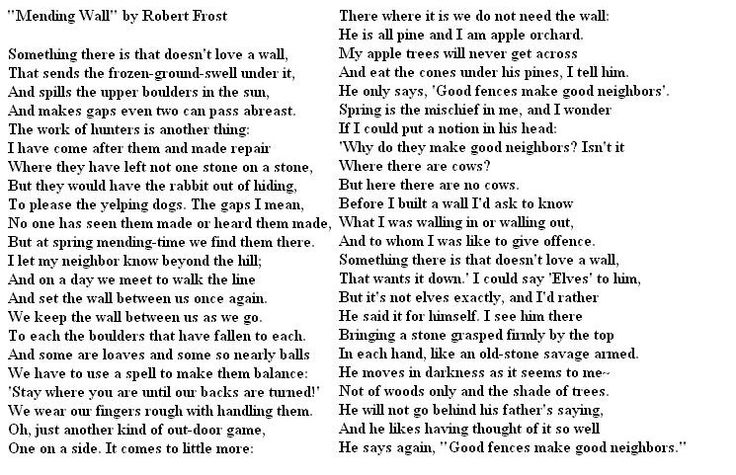 robert frost mending wall The poet's thoughts while working with his neighbour to mend the dry stone wall between their land it's unlikely that frost intended any deeper meaning.