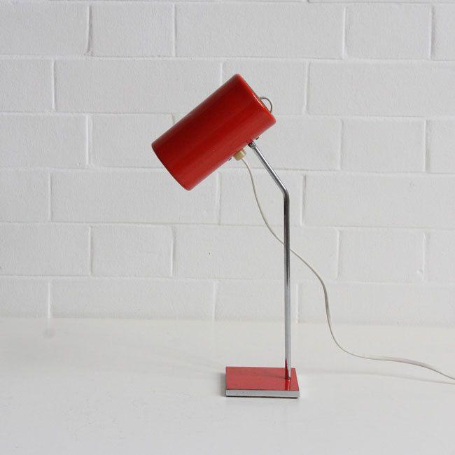 Josef Hůrka for Lidokov; table lamps mod. L116, chromed and enameled metal, Czech Republic, 1963