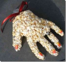 Halloween treat - clear gloves filled with popcorn & candy