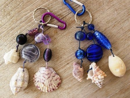 key rings with sea shells and glass beads
