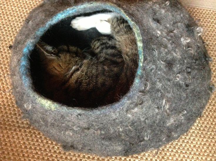 Lekker warm in mijn mand van wol.... Gevilt van Gotland wol