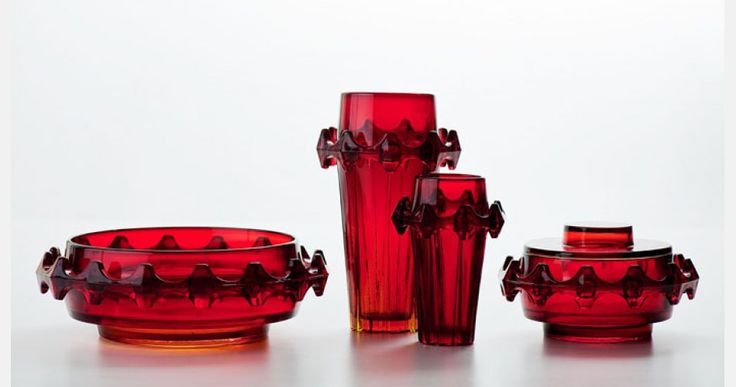 "Eryka and Jan Drostowie, ""Diatret"", applied glass set, designed by Jan Sylwester Drost, produced by the Ząbkowice Household Glass Works in Ząbkowice Śląskie, 1973"