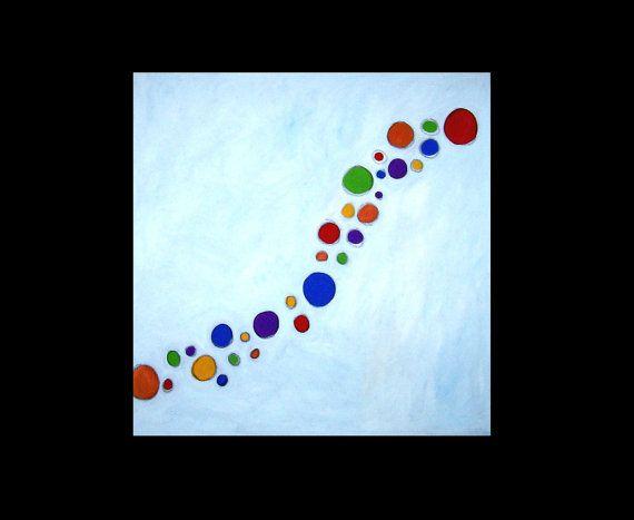 Enamoramiento Esta gran pintura abstracta original es de 32 x 32 x 1.5 pulgadas lona. Debido a su tamaño se enviarán rodado. El fondo es blanco mezclado con poco ultramarino francés y amarillo de cadmio, por lo que no es un verdadero blanco. Las burbujas son en tonos de rojo, compra, azul, morado, naranja y verde. Esto es parte de la serie donde estoy tratando de imitar el movimiento. Si deseas más arte en mi tienda en http://www.mwestdesigns.etsy.com