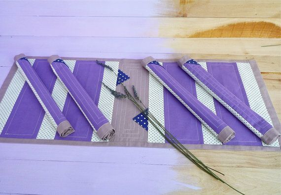 Fabric Placemat and Table Runner set of 5Cotton by LavenderVanille