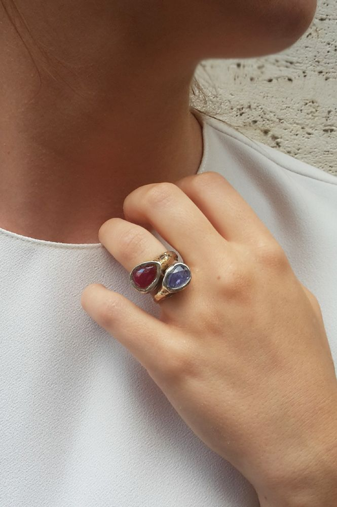 #rings made of #silver and #gold with #blue #tanzanite or #ruby #wabi #sabi #maschiogioielli #milano #madeinitaly #handmade #uniquepiece #gioiellidesign