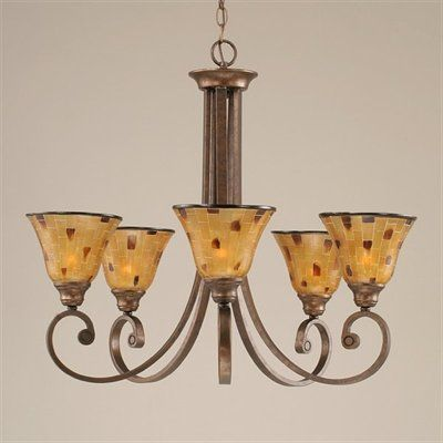 Toltec Lighting 255-BRZ-705 5 Light Curl Chandelier, Bronze