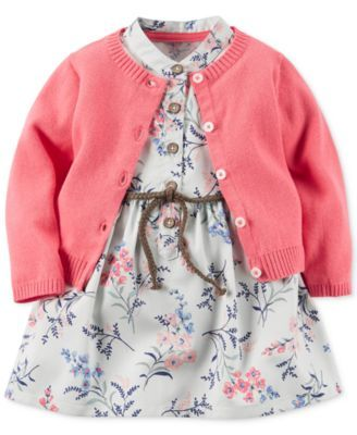 Carter's 2-Pc. Cardigan & Floral-Print Dress Set, Baby Girls