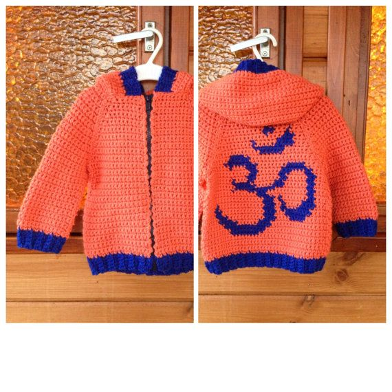 Сhildren's knitted sweater with hood and zipper Om от ruscrew