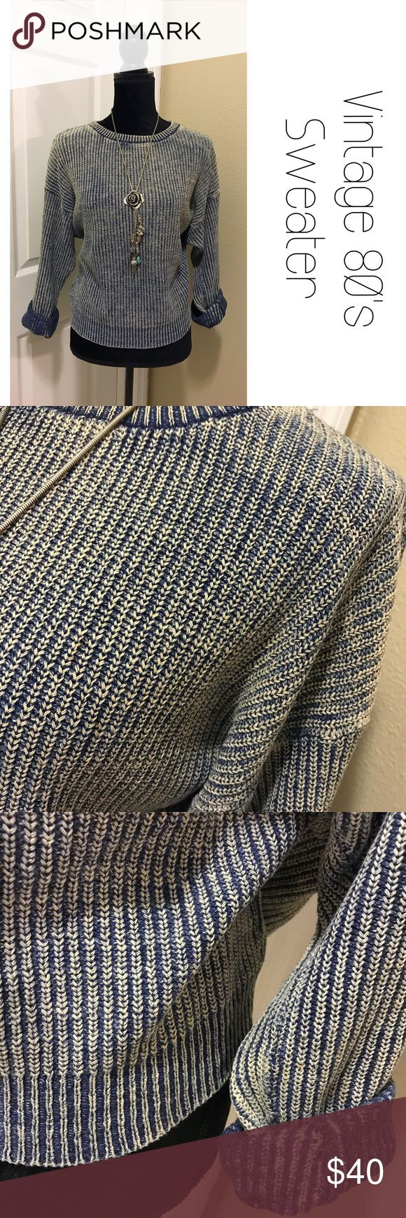 Vintage 80's Burnout Ribbed Cotton Sweater L This sweater makes me want to listen to Debbie Gibson and hang out at the roller rink.  Size Large, ribbed with a burnout look.  Excellent condition considering that age, no flaws.  Offers welcome! B8 Vintage Sweaters