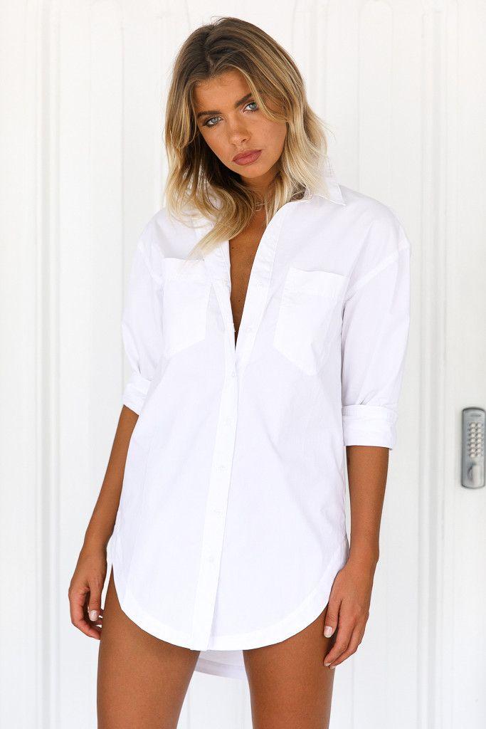 Xenia Boutique - My Boyfriend Shirt Dress (White)