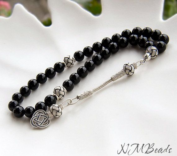 Black Onyx Prayer Beads With Authentic Tassel, Tasbih, Rosary, Komboloi, Kazaziye