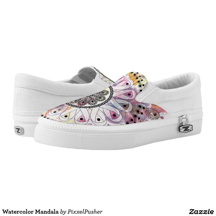 Watercolor Mandala Slip On Sneakers #watercolor #mandala #slip #on #sneakers