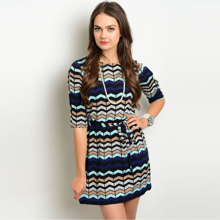 Shop the Trends Women's 3/ Sleeve Missy Dress with Allover Multicolored Print and Blouson Bodice