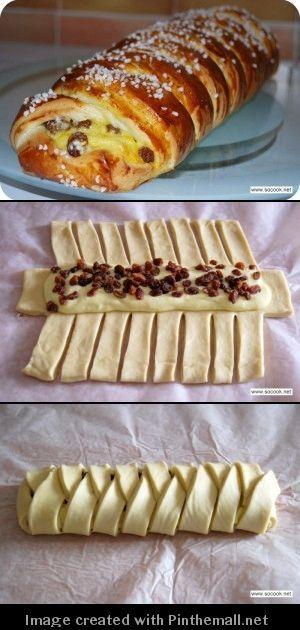 Brioche, creme patissiere et raisin sec