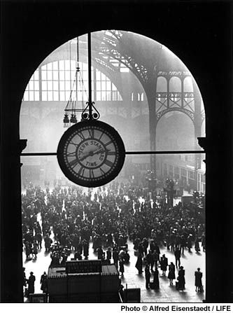 The famous Clock in the Old Penn Station, New York City, 1943 by Alfred Eisenstaedt for Life magazine
