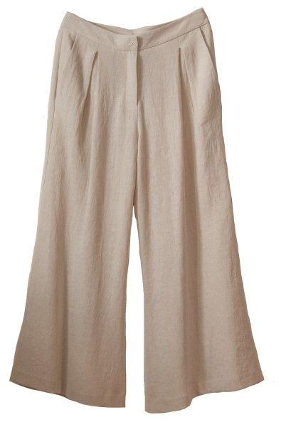 Shop Dusan  Pantaloni: Pantalone Dusan in lino, a zampa d'elefante, lunghezza fino alla caviglia, vita alta, tasche laterali, chiusura davanti con zip e bottone.    Composizione: 100% lino.