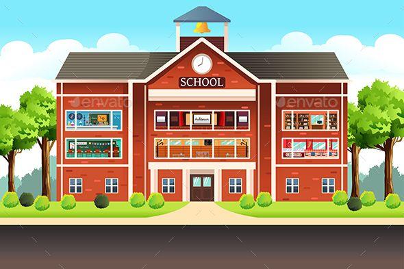 School Building School Building School Images School Illustration