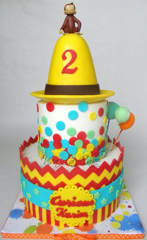 Red, Aqua, Green and Yellow Dots, Stars, Stripes & Chevron Curious George Cake with Yellow Hat Topper (Karim)