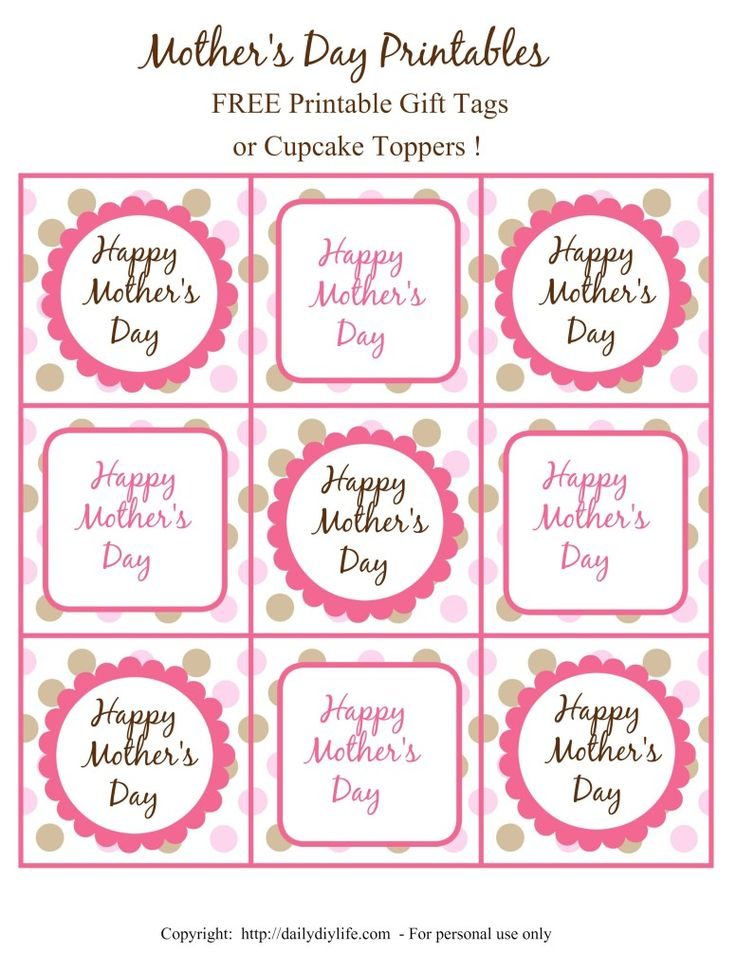 mother 39 s day free printable gift tags or cupcake toppers daily diy life goodies gift tags. Black Bedroom Furniture Sets. Home Design Ideas