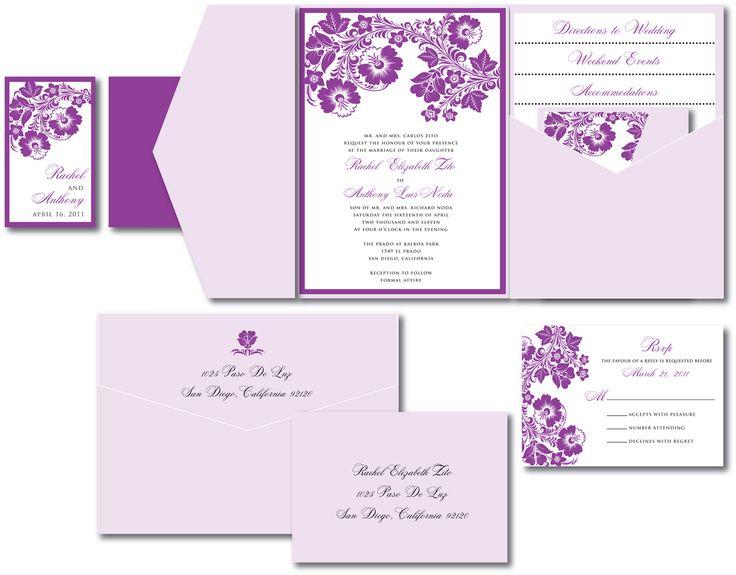 Pocket Wedding Invitations Purple   Google Search