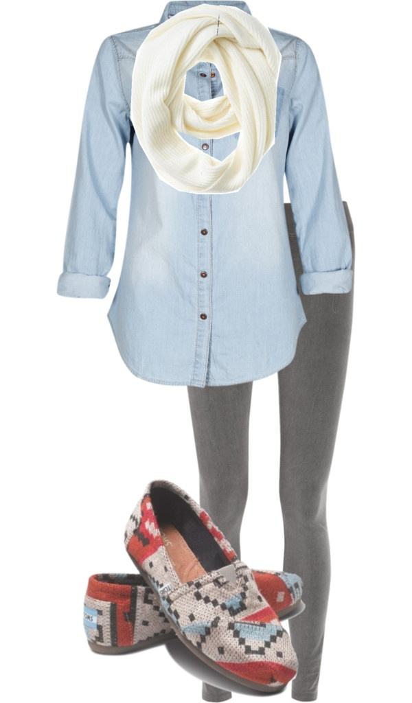 """""""legings, denim, scarf, and toms"""" by its-a-girl-thingg on Polyvore"""