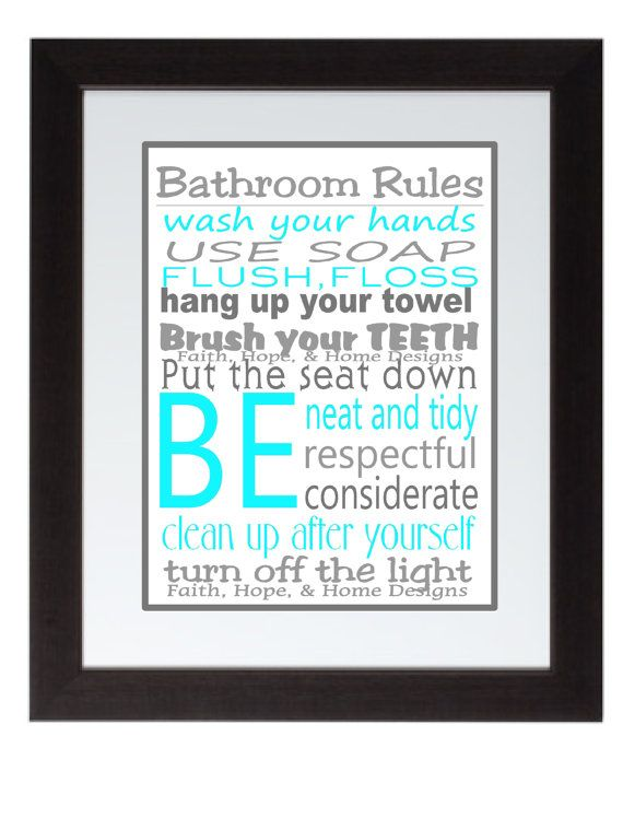 Grey And Turquoise Bathroom Rules Wall Art By Faithhopenhome 7 99