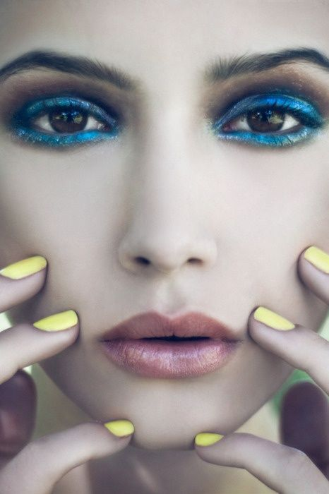 Blue Eyeshadow and Yellow Nails