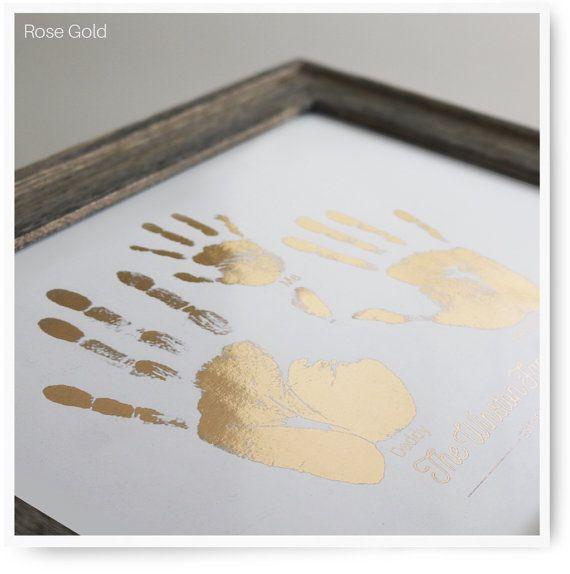 Handprint Art, Baby Handprint, Family Handprints - 10x8 Foil Pressed Art Print