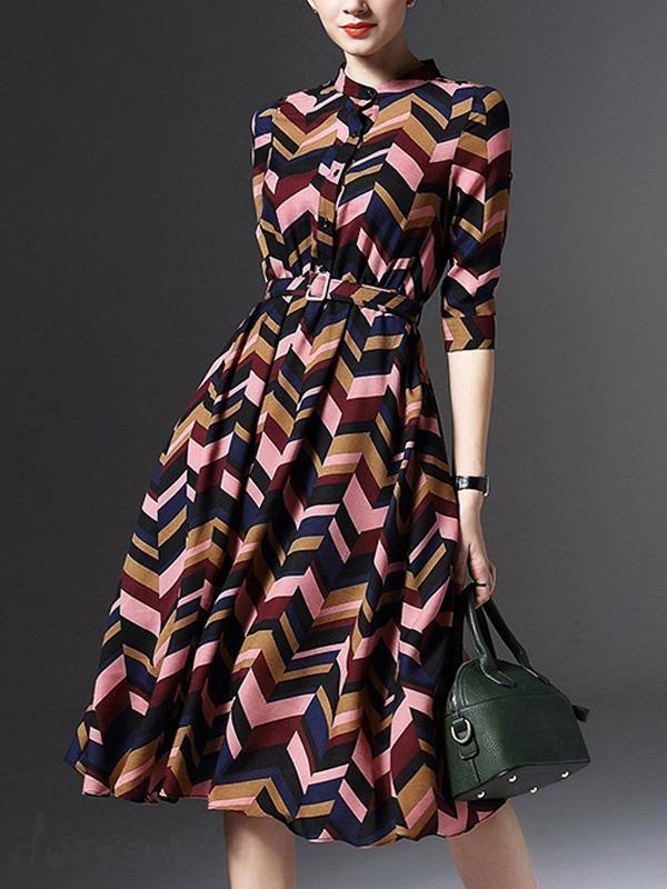 Doresuwe.com SUPPLIES 新作 レディースオシャレファッション幾何学模様5分袖丈膝丈ワンピース デートワンピース