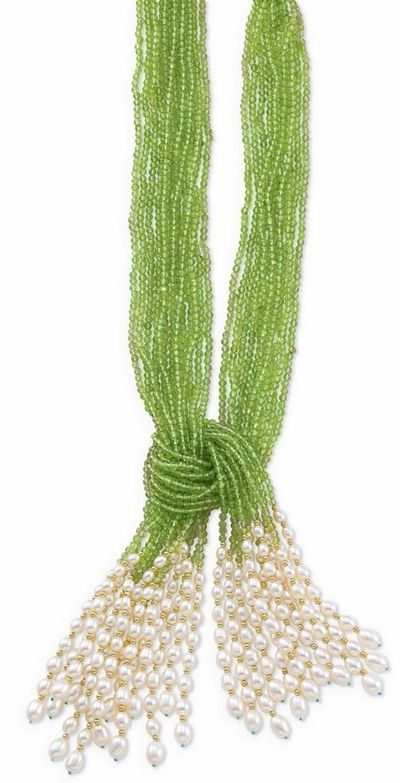 $895 Multi-Strand Peridot & Pearl Scarf Necklace 46 - Would be pretty with a white dress or suit.