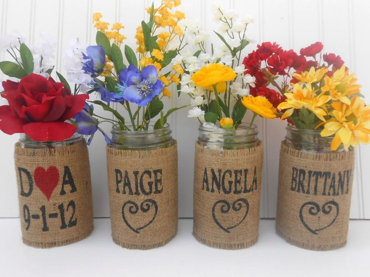Mason Jar Personalized Wedding Bouquet holders....: Bouquets Holders, Wedding Bouquets, Mason Jar Weddings, Masons Jars Weddings, Burlap Mason Jars, Bride And Bridesmaid, Weddings Bouquets, Burlap Masons Jars, Bridesmaid Bouquets