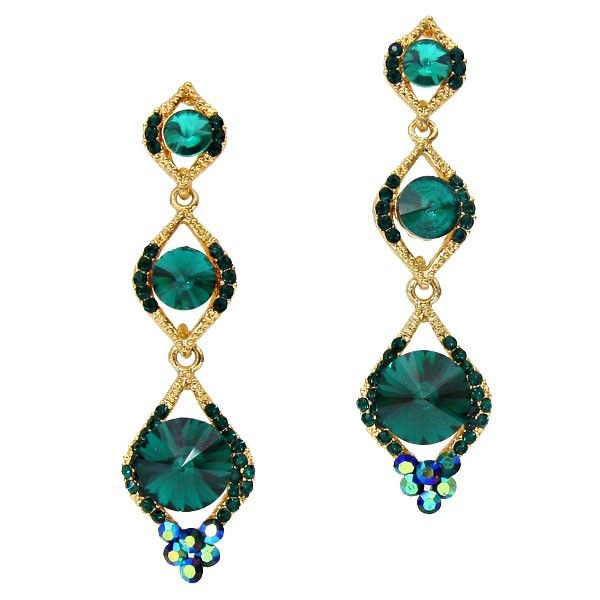 Green long drop earrings in gold tone, available in other colours from WWW.GlitzyGlamour.co.uk