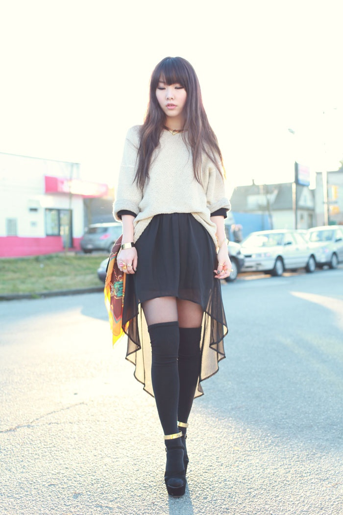 Black knee high socks, black tights, black wedge sandals, black transparent skirt, white knitted ample pullover