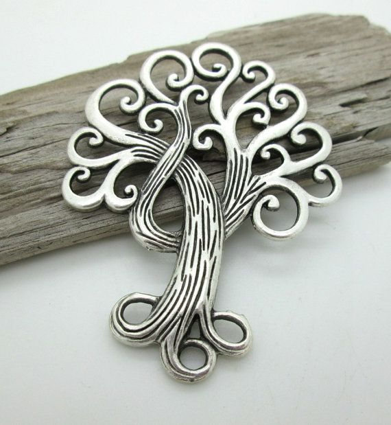 Large Silver Tree of Life Pendant Tree of Life by DragonStoneBeads