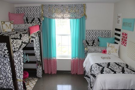 Ole Miss Dorm Room : Black Gold Tiffany Pink Dorm Room | Sorority and Dorm Room Bedding - Dorm Sitting Area Dorm DIY