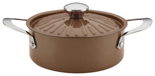 Rachael Ray - Cucina Oven-to-Table 2.5-Quart Covered Round Casserole - Espresso/Mushroom Brown (Brown/Mushroom Brown)