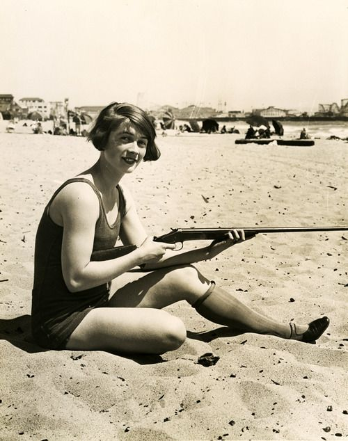 sunbathing: At The Beaches, Target Practice, Multi Task, Guns, Vintage Women, Vintage Wardrobe, 1920S Flappers, Vintage Photography, Young Girls