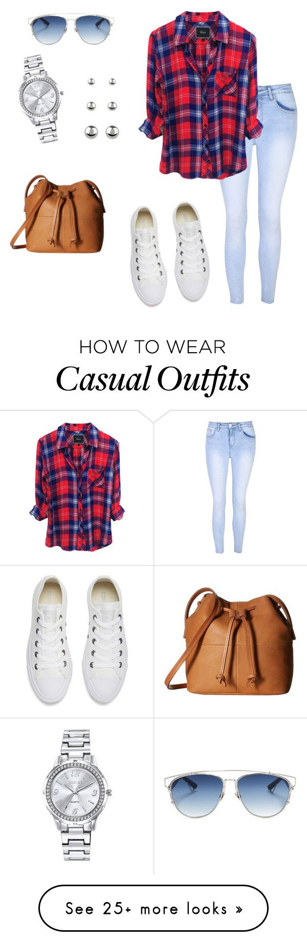 """""""Casual"""" by carla-beatriz-klamt on Polyvore featuring Glamorous, Converse, ECCO, Christian Dior, Mestige and Accessorize"""