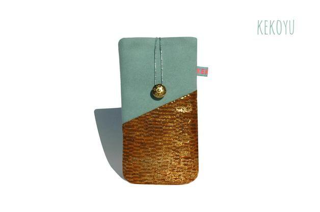 via en.dawanda.com Phone Cases – iPhone Sleeve Leather for 6 Plus, 6, 5,4 Gold Mint – a unique product by KEKOYU on DaWanda