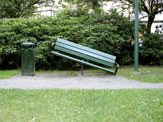 Seesaw Bench by Martin Nicolausson & Tom Eriksson. An attempt at getting strangers to conversate start a conversation in public spaces. This bench requires cooperation to be functional. The original bench was designed by Lars Gunnars for the city of Stockholm in the early 90′s.
