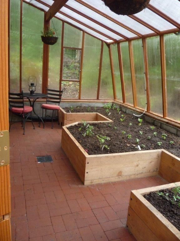 Interior of Solite Lean-to Greenhouse with built in raised beds