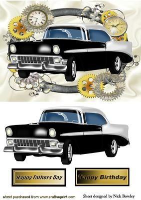 BLACK WHITE VINTAGE CAR IN STEAMPUNK FRAME on Craftsuprint - Add To Basket!