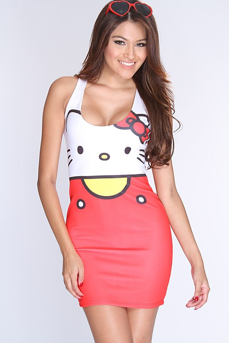 We cant get enough of how adorable this Hello Kitty dress is! Everyone will ask where you shop when your seen in this one of a kind dress! All eyes will be on you wherever you go! It features Hello Kitty print, scoop neck, sleeveless, racer back, and fitted. 94% Polyester 6% Spandex. Made in USA.