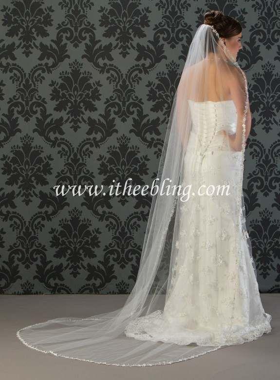 "Chapel Length Bridal Veil 90"" Long Floral Lace Edge By Illusions Bridal Veils"