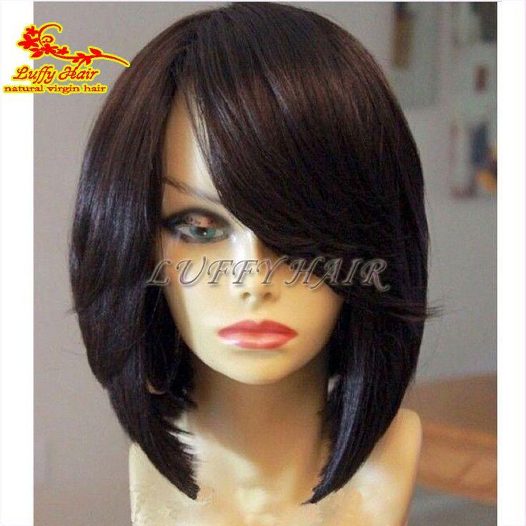 100% Virgin Human Hair Bob Wig 130 Density Silky Straight Full Lace Front Brazilian Bob Wigs / Lace Frontal Wig For Black Women
